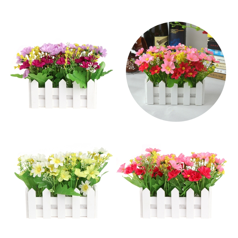 Artificial Flower Wood Fence Pastoral Flowers Pot Home Garden Wedding Decoration