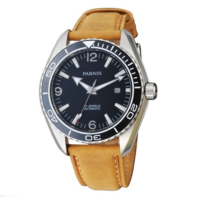 все цены на 45mm Parnis Sapphire Glass Ceramic Bezel Luminous Automatic Men 316L Watch онлайн
