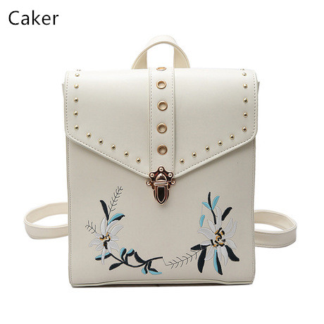 Caker Brand 2017 Women Top Embroidery Flower PU Backpack School Bag For Teenagers Black White Rivet