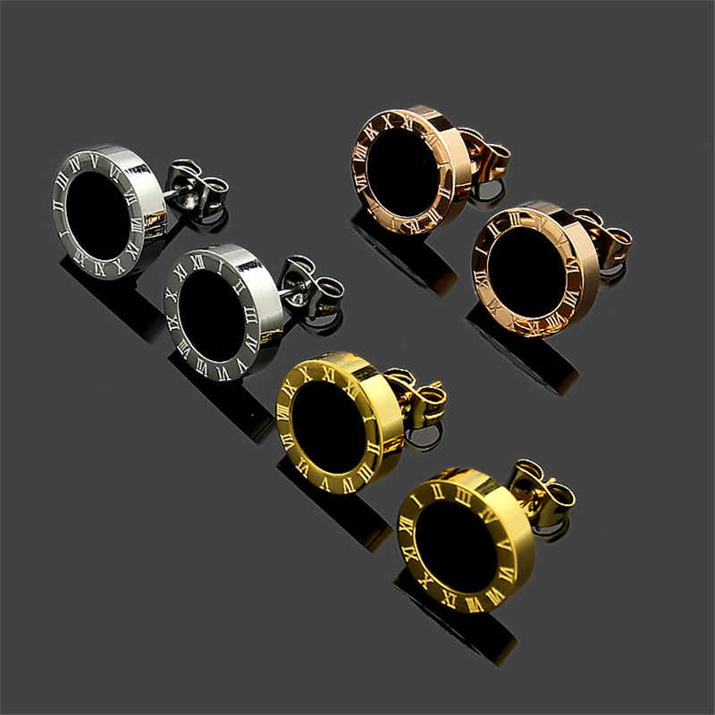 Hot Selling Anti-allergy Gold Color White Black Enamel Roman Number Love Stud Earring Stainless Steel Jewelry For Woman Man Gift
