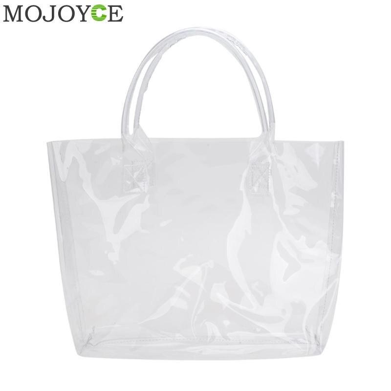 Summer Beach Totes PVC Transparent Women Shopping Bags Shoulder Handbags