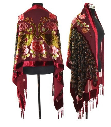Burgundy Laide's 100% silk velvet Shaw   Scarf     Wrap   Wholesale and Retai SW3070