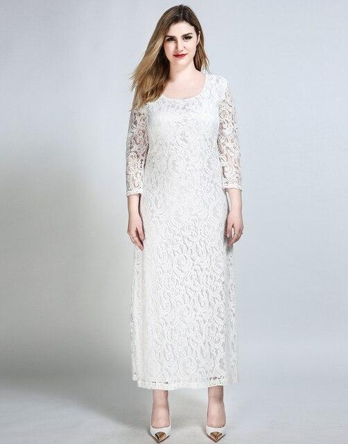 Frauen Sexy Plus Größe Maxi Spitzenkleid Viertel Sleeve Weiß ...