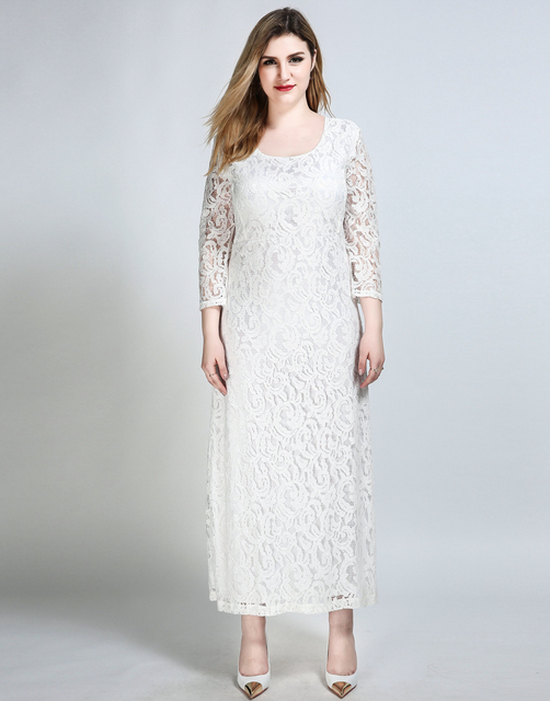 Womens Sexy Plus Size Maxi Lace Dress Quarters Sleeve White