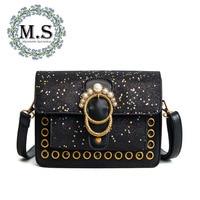 M S Pearls Beading Luxury Handbags Women Bags Designer Hollow Out Holes Shoulder Messenger Bag Sequined