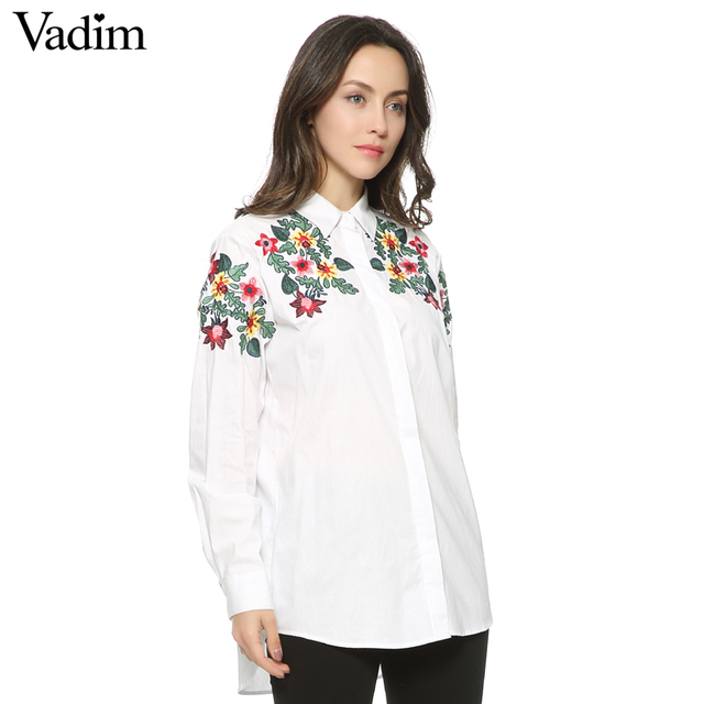 Women full cotton floral embroidery white long blouse oversized ...