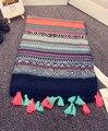 Этническая шарф 2016 дизайнер платок хиджаб женщин шарфы модные шарфы Испания стиль чешский хиппи геометрический узор шарф с кистями
