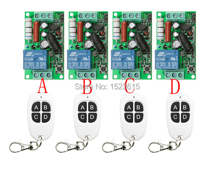 New AC220V 1CH 10A Wireless RF Remote Control Switch teleswitch 4*Transmitter+ 4*Receiver For Access/door System ac 220v 1channel 10a rf wireless remote control switch system 4 receiver