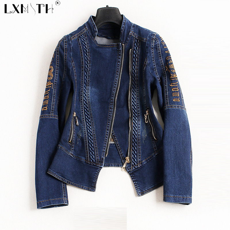 4XL 2019 New Spring denim   Jacket   Women Turn Down Collar Embroidery Coats And   Jackets   Zipper Slim   Basic     Jackets   Jeans Plus Size