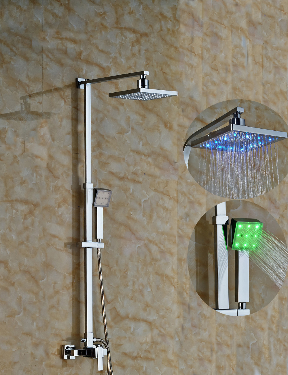 Wholesale And Retail Square Elegant Wall Mounted Square Rain Shower Head Valve Mixer Hand Shower