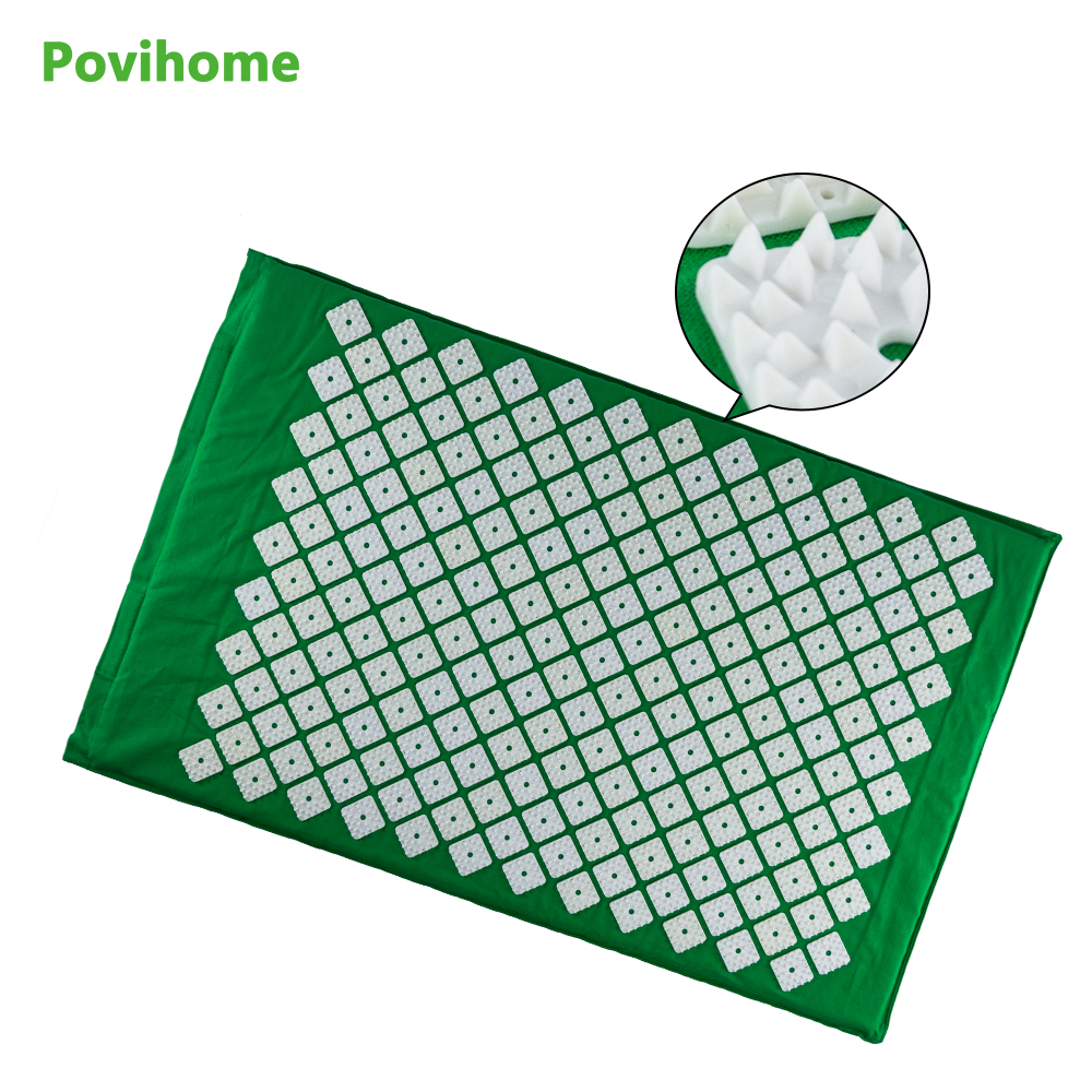 Povihome New Quadrangle Spikes Acupressure Mat Massage Cushion for Body Relaxation Pain Relieve Points Green Free Fhipping C1189 tapping massage cushion 3d new massager whole body massage chair mat for sale