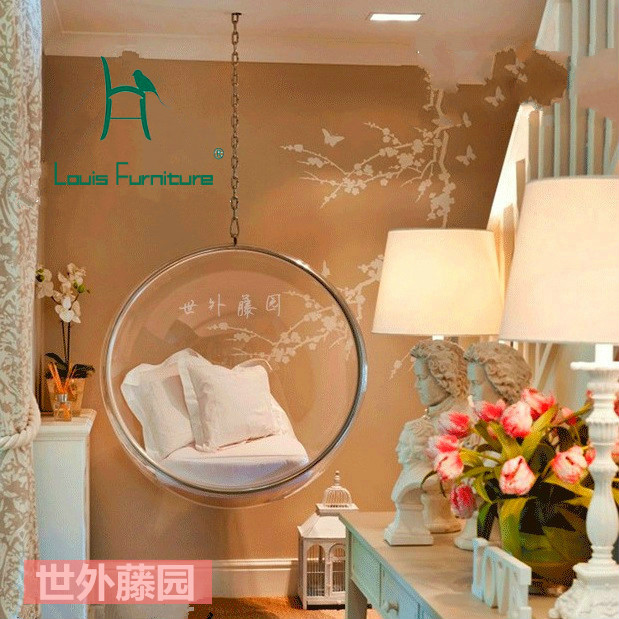 Louis Fashion Potio Swings Transparent Glass Ball Hanging Bubble Chair  Swing Basket Ball Chair Acrylic Dome