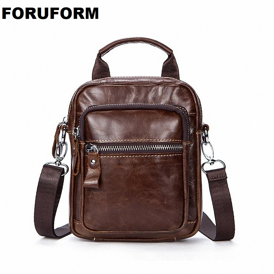 Genuine Leather Men Bag Male Vintage Small Male Casual Shoulder Messenger Bags Crossbody Bags Men Leather Travel Handbag LI-2065 men shoulder bags genuine leather vintage male business messenger bags vogue multifunction casual travel crossbody pack rucksack