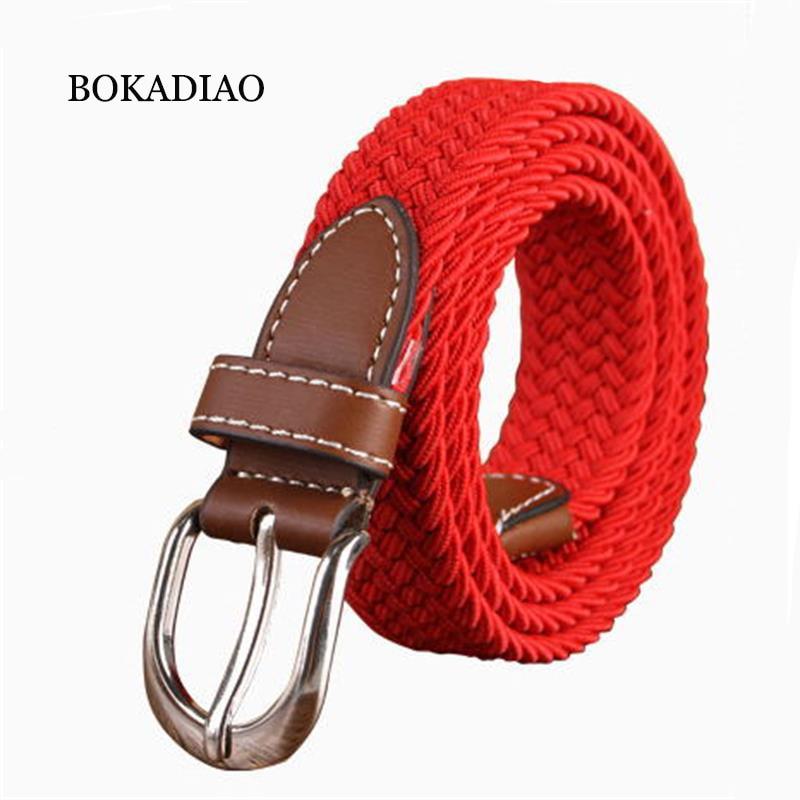 BOKADIAO women elastic   belt   Pin buckle Weave Stretch Canvas   belt   95cm luxury student Children's   belt   jeans waistband white strap