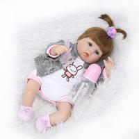 NPK 40 CM Bebe Reborn Dolls Cloth Body Silicone Rebron Babies Girl Magnetic Pacifier Toys Newborn Bonecas brinquedos Kids Gift