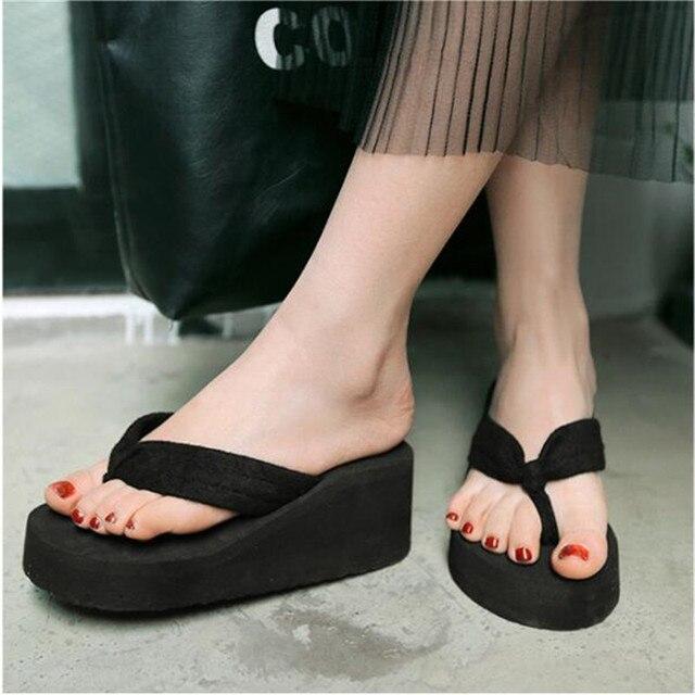 Women Summer Flat Sandals Slipper Flip-Flops Thick Heel Beach Shoes
