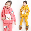 Retail New Baby Winter Suit Cotton-padded Clothes Girl's Hello Kitty Clothing Sets Thick Velvet Waistcoat&Hoodies&Pants 3pcs