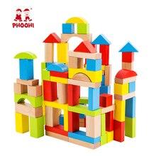 Wooden Building Block 100 PCS Toddler Preschool Educational Montessori Shape Toy For Kids PHOOHI