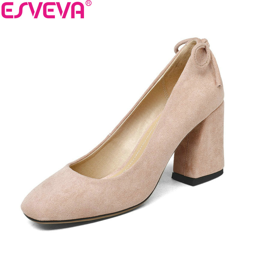 ESVEVA 2018 Women Pumps Shoes Butterfly-knot High Heels PU Square Heels Sweet Style Square Toe Slip on Women Shoes Size 34-43 2017 spring women retro pumps solid slip on sweet butterfly knot round toe med square thick heels shallow female shoes plus size