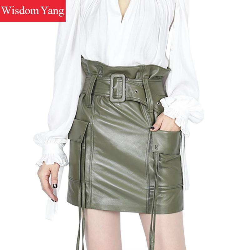 Real Sheep Skin Genuine Leather Skirt High Waisted Midi Skirts Womens Green Yellow Sexy Party Tassel Lady Sexy Moto Wrap Skirt
