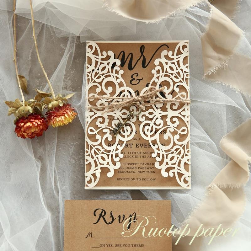 200pcs elagent guests wedding card laser cut pocket wedding invitations de boda bridal shower wedding invitations