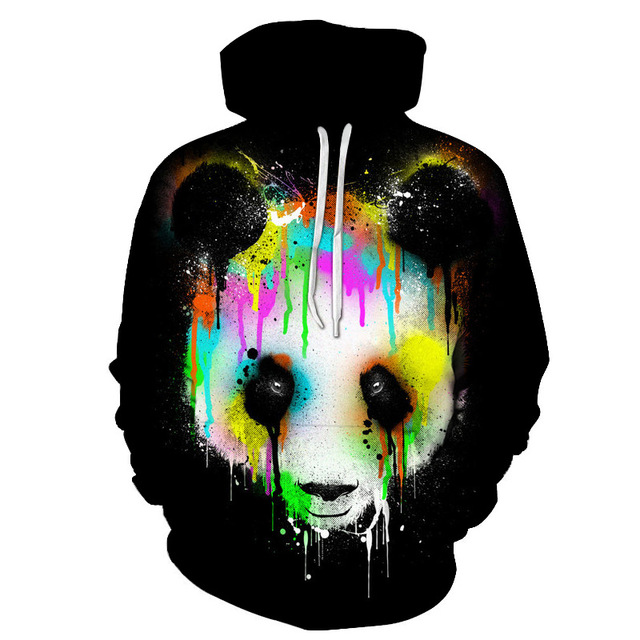 2018 new fashion hooded shirts men colorful panda 3d printed hoodies