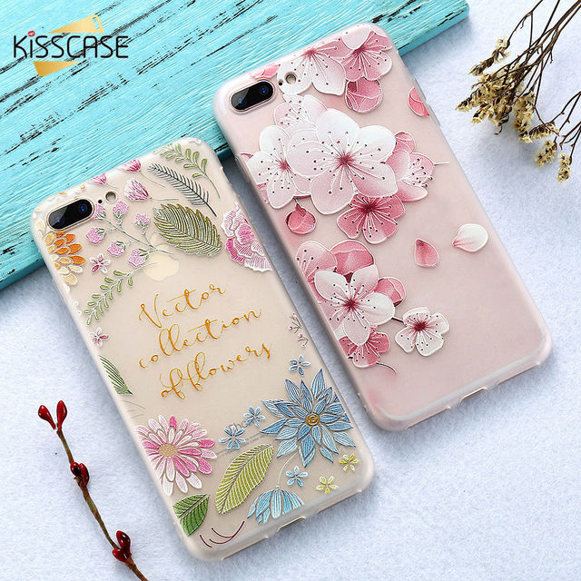best website d8025 55b53 US $2.82 |KISSCASE 3D Relief Flower Case For iPhone 5S 5 Se Ultra Slim  Girly Silicone Cases For iPhone X 8 7 Plus 6S 6 Plus 6 Bag Capinhas-in  Phone ...