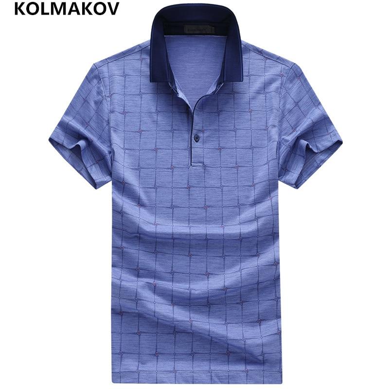 2019 KOLMAKOV Brand   Polo   Shirt Men Summer Short Sleeve Cotton Camisas   Polo   Masculina Elastic Solid Color Men's Clothes Sportwear
