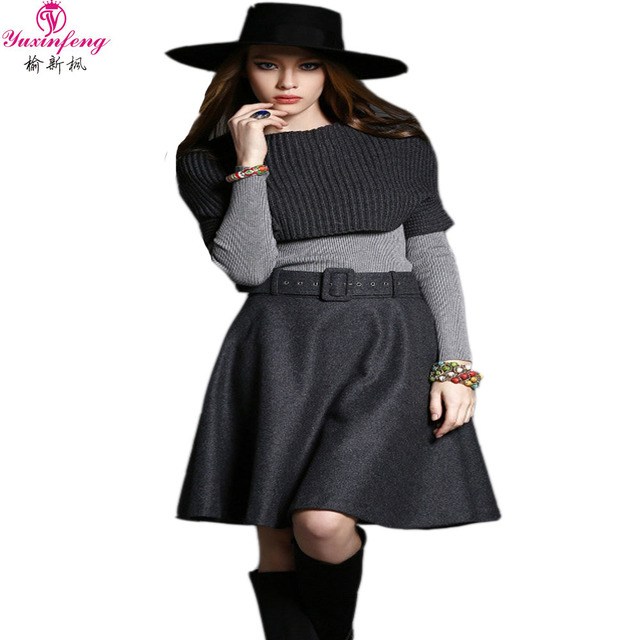 2016 Autumn Winter 3pcs Women Skirt Suits Office Knitted Sweater Skirt sets Designers Clothing Elastic Loose Gray skirts Set