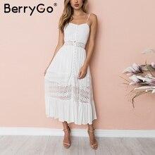 BerryGo ремень выдалбливают кружевное платье Женщины Кнопка спинки Лук пляжное летнее платье высокой талией Белые Повседневные длинное платье vestidos