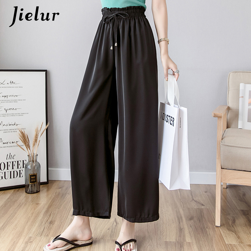 Jielur Elastic High Waist Summer   Pants   Women Korean Chiffon Bow Straight Trousers Solid Color   Wide     Leg     Pants   Casual Pantalon