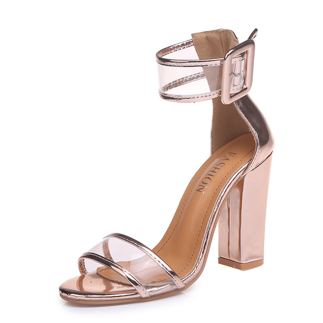 7118ae13c5 YJSFG fashion Women Sandals Gold Metallic ankle Strap High Heels Sandals  Transparent Summer Shoes high quality women shoes