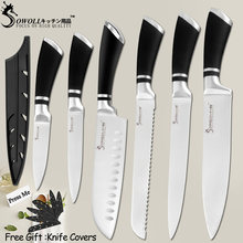 SOWOLL High Quality 6 Pcs Stainless Steel Knife Kitchen Knife Set Tools Paring Utility Santoku Slicing Bread Chef Cooking Knife(China)