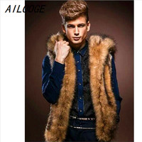 AILOOGE Fashion Winter Men Fur Vest New Thick Fur Hooded Hoodie Men Waistcoats Male Sleeveless Outerwear