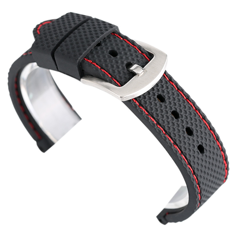 18mm 20mm 22mm 24mm Silicon Rubber Watchbands Strap Non-slip Black Blue Waterproof for wristwatches Diving Sports Bracelet black blue gray red 18mm 20mm 22mm waterproof silicone watchband replacement sport ourdoor with pin buckle diving rubber strap
