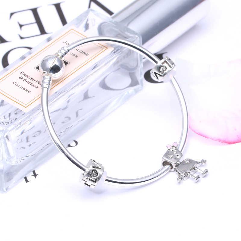 CHIELOYS Klasik Gümüş Renk Bella Bot Bilezik ve Kadınlar Için Bilezikler Fit DIY Marka Bilezik Kadınlar Takı Yapımı için BE016