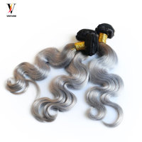 3 Pcs Ombre Brazilian Hair Weave Bundles Pre Color 1b/50 Grey Body Wave Bundles Human Hair Bundles Three Tones Remy Hair Venvee