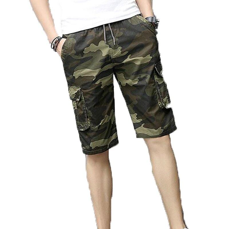 Summer Men Casual Shorts camouflage Print Big pocket Design fashion  regular Elastic Waist knee length shorts 8618