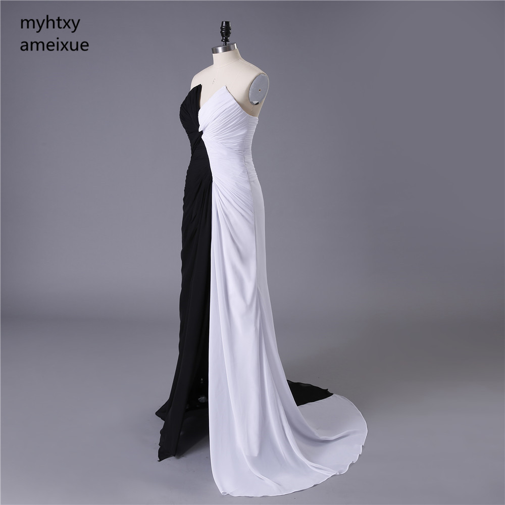 2017 Vestidos De Festa Front Split Chiffon Evening Gowns Cheap Black And White Long Evening Dresses Sexy Robe De Soiree Party