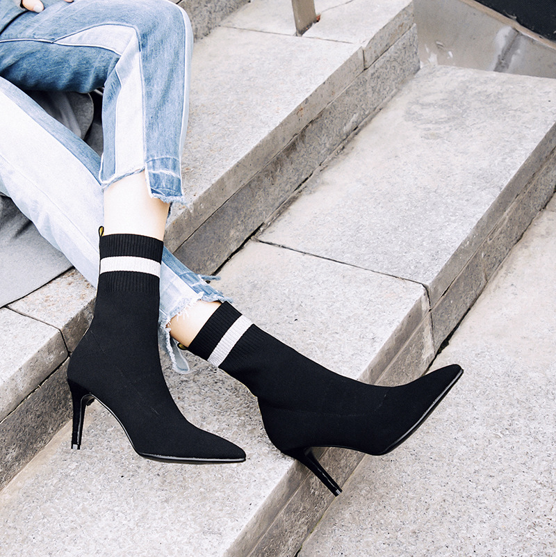 Boots 2018 Ankle Elastic Sock Boots Chunky High Heels 8.5CM Stretch Women  Shoes Autumn Sexy Booties Pointed Toe Party Shoes 2e08567ed4