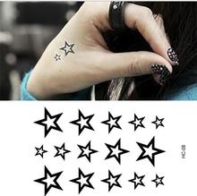Hot 1pc Waterproof Tattoo Sticker Stars Black Small 10x6cm Tattoo Body Sticker Men Women