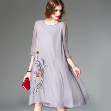 2017 spring and autumn dress women's chinese style vintage embroidery loose silk dress female o-neck seven sleeve silk dresses