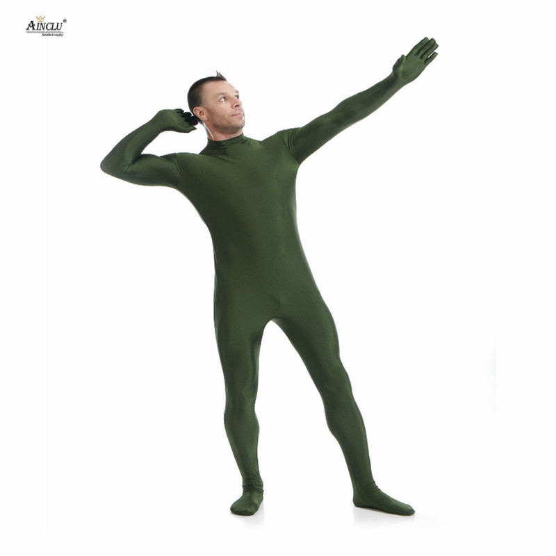 Ainclu Mens Spandex Nylon Lycra Zentai Dark Green Body Second Skin Tight Without Head Dancewear Costume Hallween Adults Bodysuit