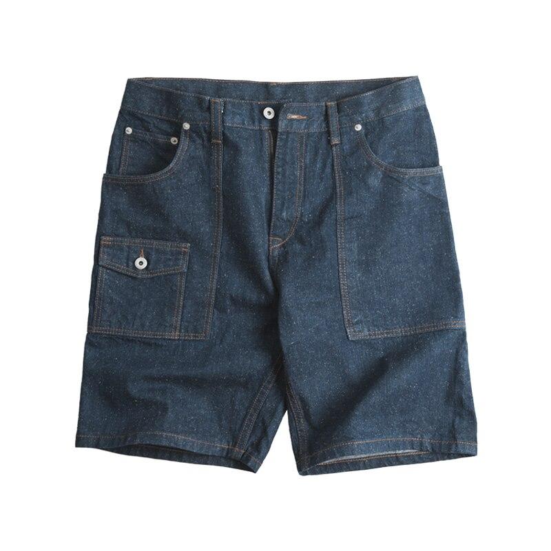 Maden Retro Cotton Denim Shorts Blue Five Denim Pants Male