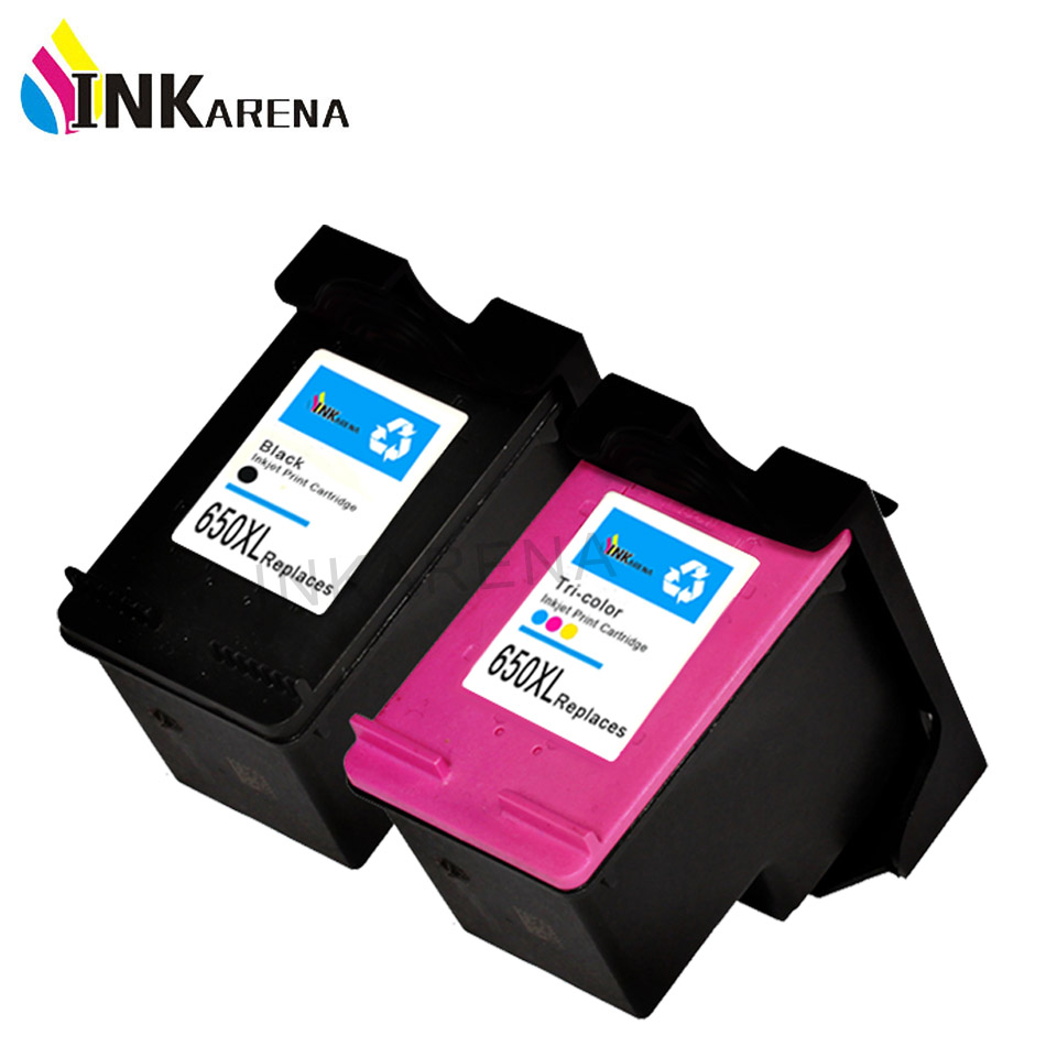 INKARENA Remanufactured Ink Cartridge Replacement for HP 650 650XL Black Tri-color 1015 1515 2515 2545 2645 3515 Refill Printer hp 650 2 pack combo black tri color ink cartridges cz101ae cz102ae