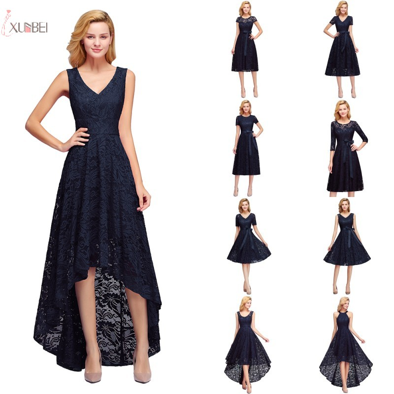 12 Styles Cheap Sexy 2019 Navy Blue Lace Short   Bridesmaid     Dresses   For Wedding Party A line Sleeveless Wedding Guest   Dress