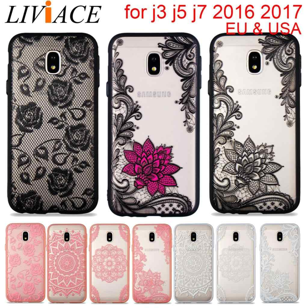16746356396 phone case for samsung galaxy J3 J5 J7 2016 2017 EU USA girl 3D relief lace