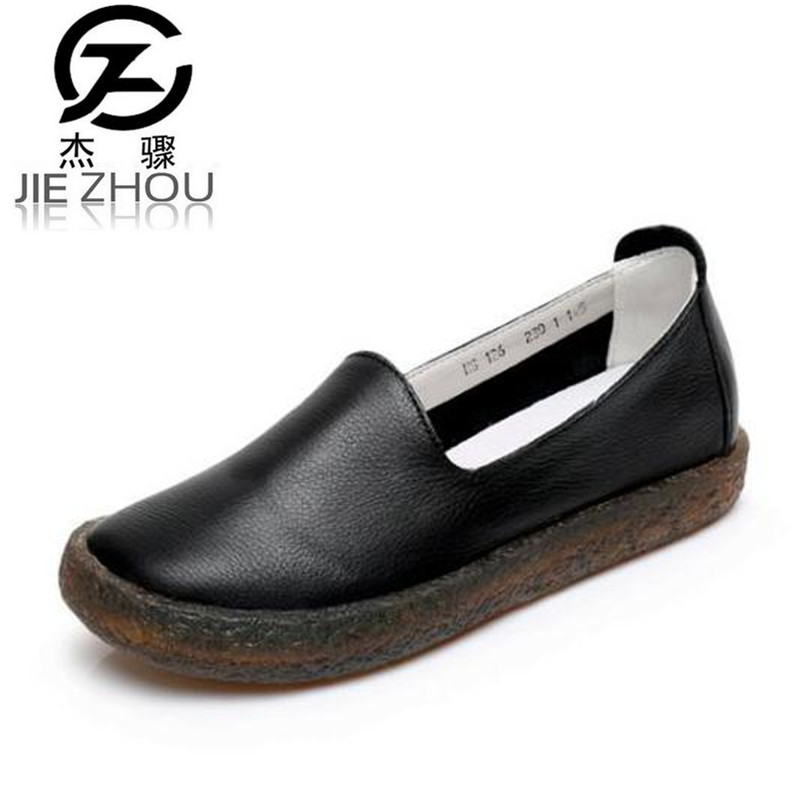 Spring and autumn new flat shoes Women Shoes Genuine leather casual shoes female soft Tendon bottom Loafers zapatos mujer the spring and autumn new white shoe leather strap female flat shoes pointed deep soft bottom shoes casual student