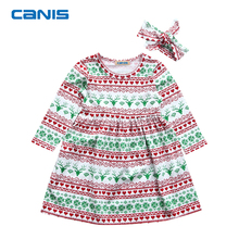 Christmas Clothing Toddler Infant Kid Baby Girl Christmas Costume Long Sleeve Tutu Striped Dress Headband Outfit 1-5T