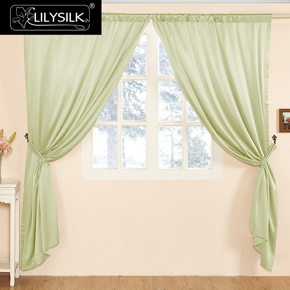 Valance curtains for living room - Lilysilk Silk Curtain 22 Momme Fashion New Classical Living Room Tube Solid Color Drape Pole Pocket Header Free Shipping